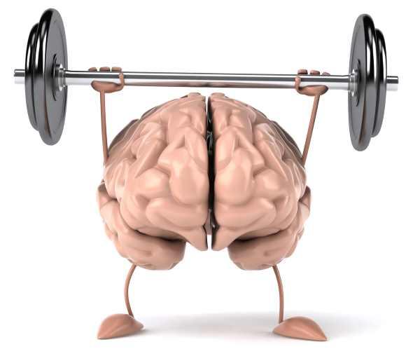 Karikatur eines Gehirns, das Hanteln stemmt